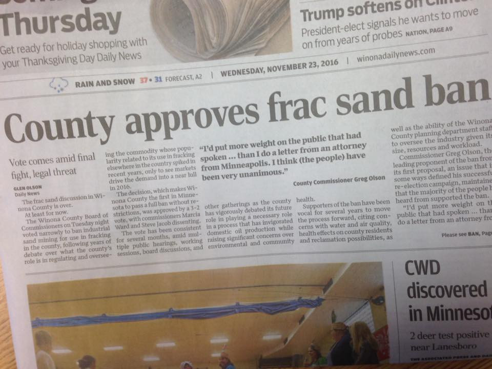 Winona County approves frac sand ban