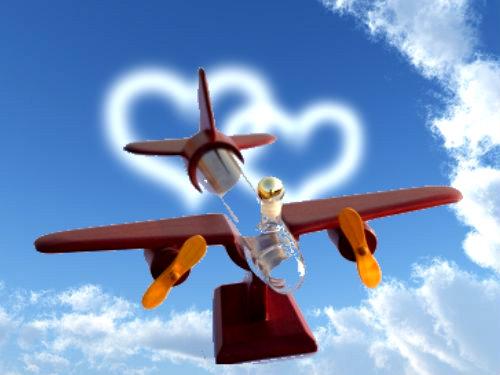 Dárková láhev vrtulové letadlo