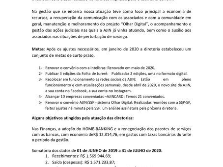 Resumo do Relatório - Gestão 2019/2020