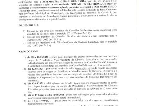 ASSEMBLEIA GERAL ORDINÁRIA ELEIÇÕES EDITAL 001/2021