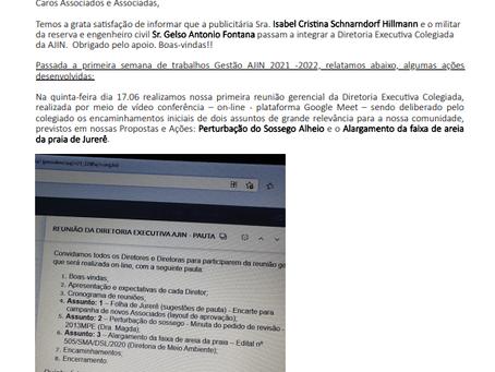 AÇÕES DESENVOLVIDAS NA PRIMEIRA SEMANA DE TRABALHOS - AJIN GESTÃO 21/22.
