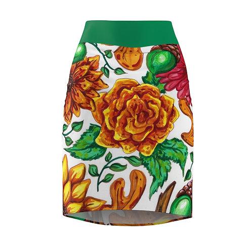 Fall Flowers, Women's Pencil Skirt