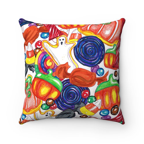 Halloween Candy, Faux Suede Square Pillow