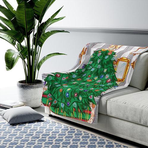 Velveteen Plush Blanket, Christmas Tree