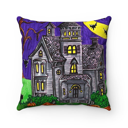 Haunted House, Faux Suede Square Pillow