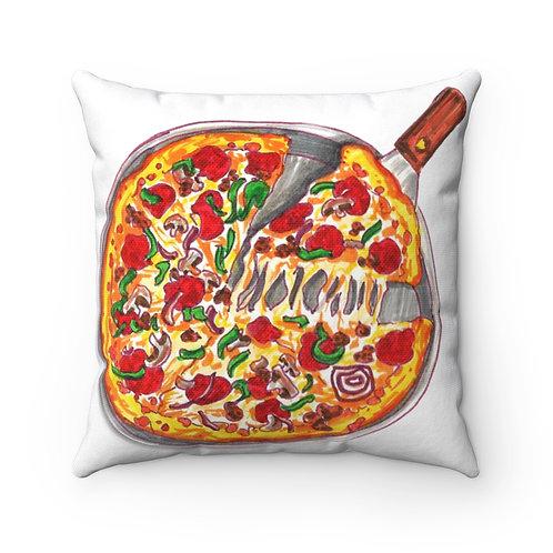 Pizza, Spun Polyester Square Pillow