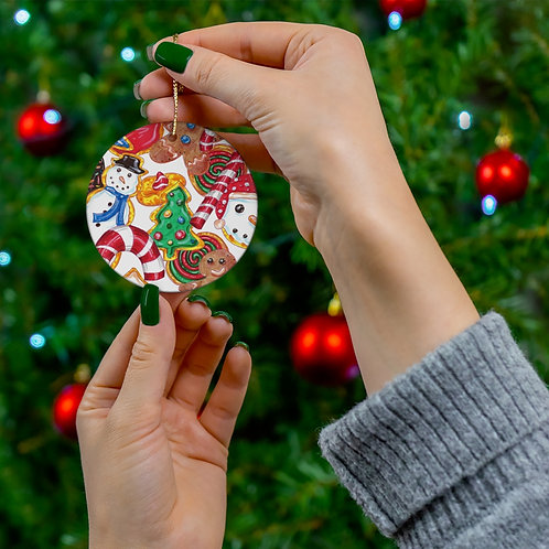 Holiday Cookies,Round Ceramic Ornaments