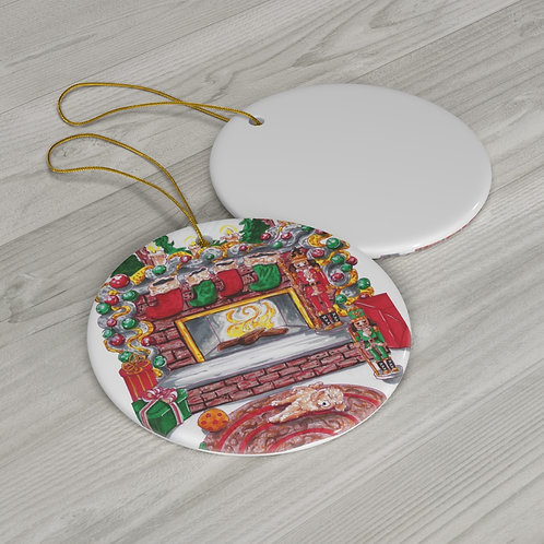 Merry and Bright ,Round Ceramic Ornaments