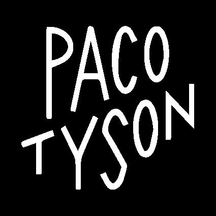 Logo du Fesival Nantais Paco Tyson. PNG blanc sans fond.