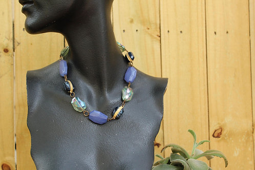 90s Chunky Blue Beaded Vintage Necklace