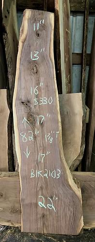 """Black walnut 2103 (1.875""""x11-22""""x82"""") surfaced"""