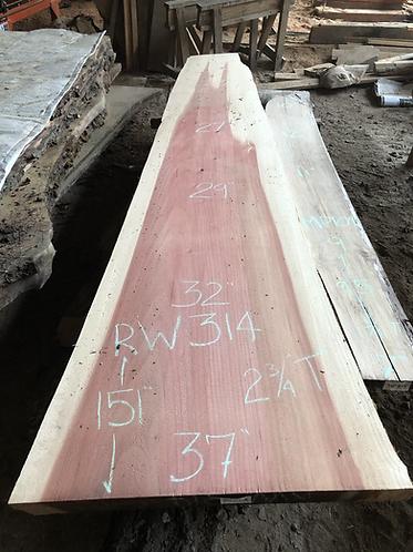 "Redwood slab 314 (2.75""x23-37""x151"") surfaced"