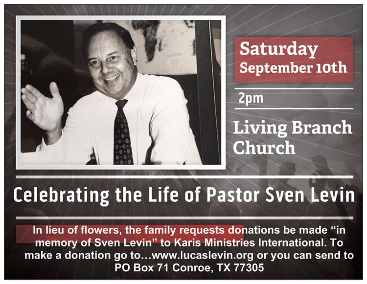 Celebrate the Life of Pastor Sven Levin
