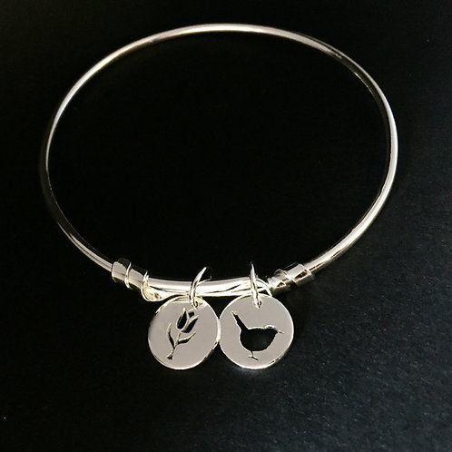 Adjustable Bangle with Wren and Tulip Charms