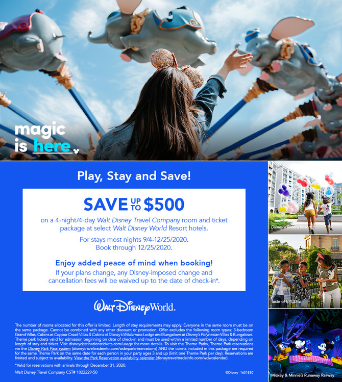Magic Is Here! Save Up to $500 on a 4-Night, 4-Day Room-and-Ticket Package at Select Disney Resort H