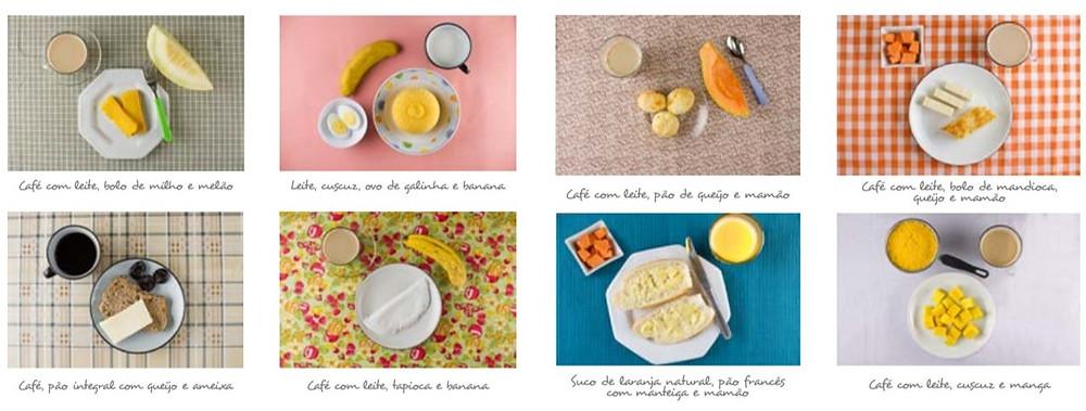 composição do café da manhã de oito brasileiros selecionados entre aqueles que baseiam sua alimentação em alimentos in natura ou minimamente processados.