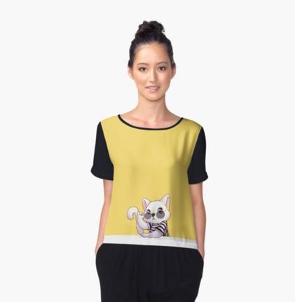 Chanel Cat Women's Chiffon Top