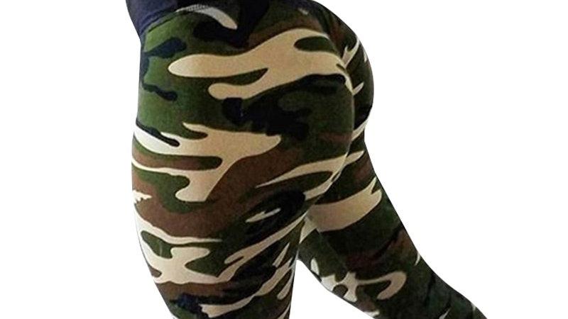 Camouflage Leggings  High Waist Sportswear Elasticity Wrinkle Leggings 4Color