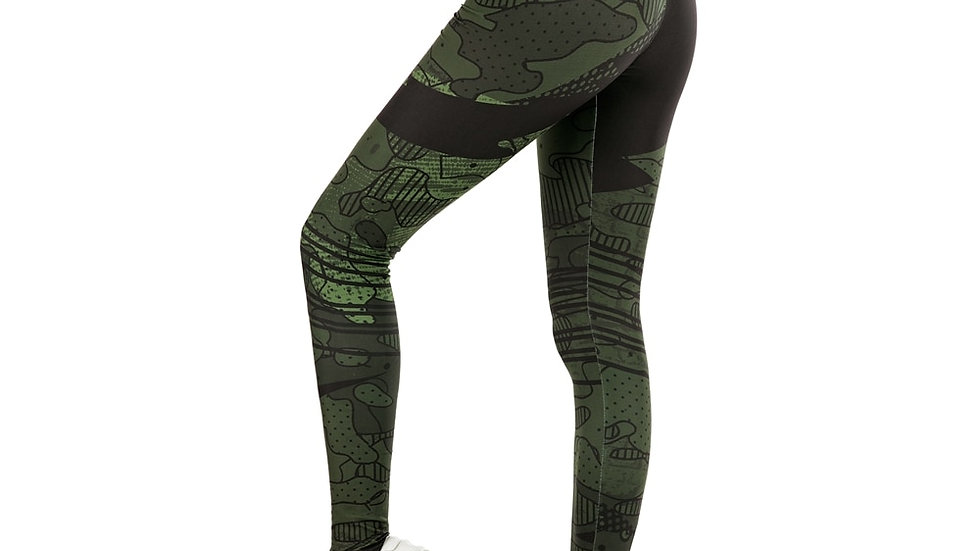 Women Legging  Green Graffiti Print  Soft and Stretchy Leggings