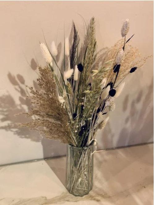 Droogbloemen naturel + vaas