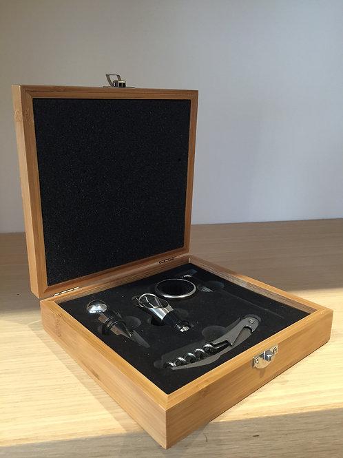 Wood box of wine accessories