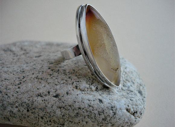 Ring rode carneool met kristallen