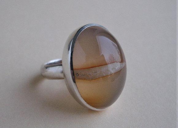 Ring rode carneool met kristalstreep, ovaal