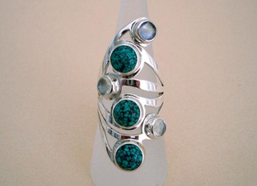 Ring turquoise en regenboogmaansteen