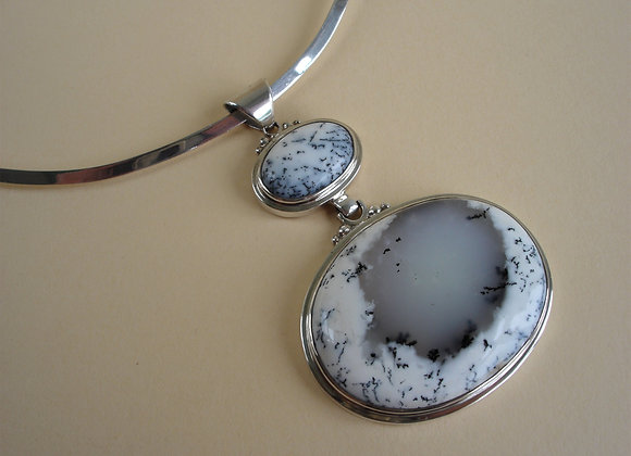 Hanger dendriet agaat, zwart-wit, L