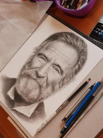 Graphite portrait of Robbin Williams