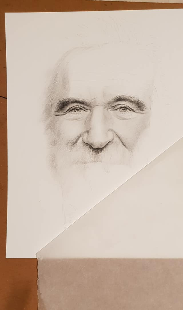 Graphite portrait of Robbin Williams in progress