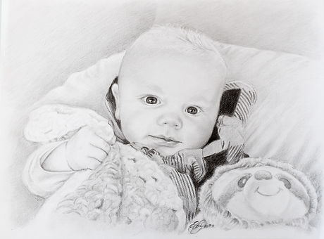 graphite drawing of a baby