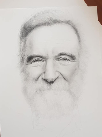 Graphit portrait of Robbin Williams in progress