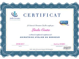 Nouvelle Animatrice certifiée! Bravo Linda Costa