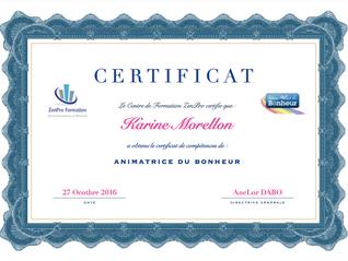 Karine Morellon animatrice certifiée!