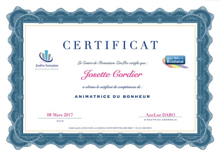 Certification d'animatrice du Bonheur