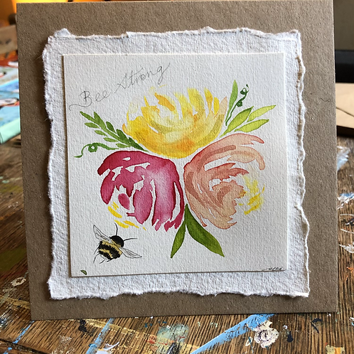 Bee strong bouquet greeting card