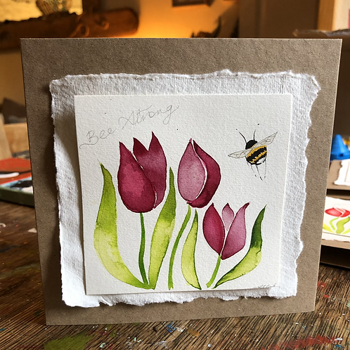 Bee strong tulip card