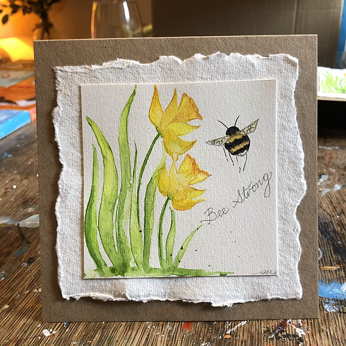 Bee strong Daffodil card
