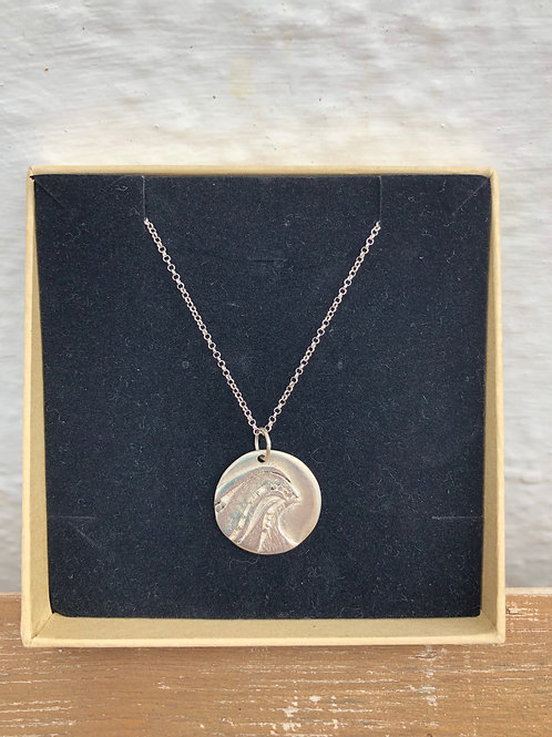 Solid Silver Wave Pendant