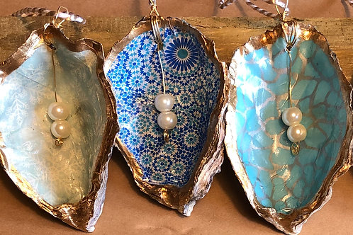 Decoupage and Gold Leaf Scallop and Oyster Shells