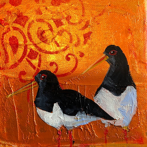 Oyster catchers canvas