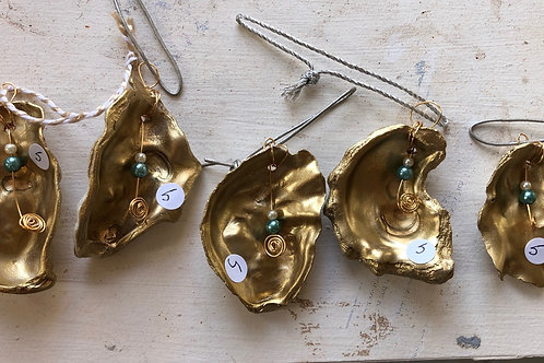 Set of Three Small Gold and Pearl Oyster Shells