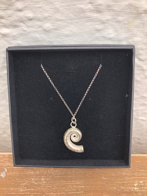 Spiral Solid Silver Shell Necklace