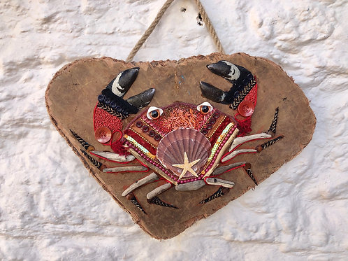 Collage Crab on Driftwood