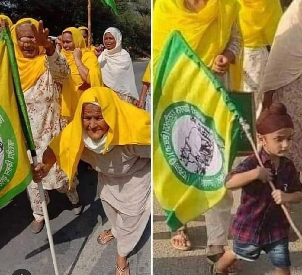 Alte Menschen und Kinder protestieren gemeinsam.