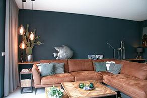 Interieuradvies nieuwbouwwoning Achterveld. Industrieel. Stalen meubels. Blauwe muur - C-Style Concepts