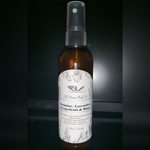 Body Oil: Jasmine, lavendar,  grapefruit & mint