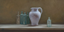 Old Glass Bottles and White Jug