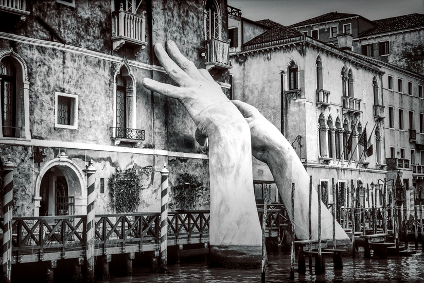 'Support' by Artist Lorenzo Quinn, Venice